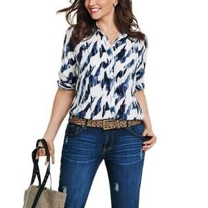 CAbi Moody Blues White Button Front Blouse S